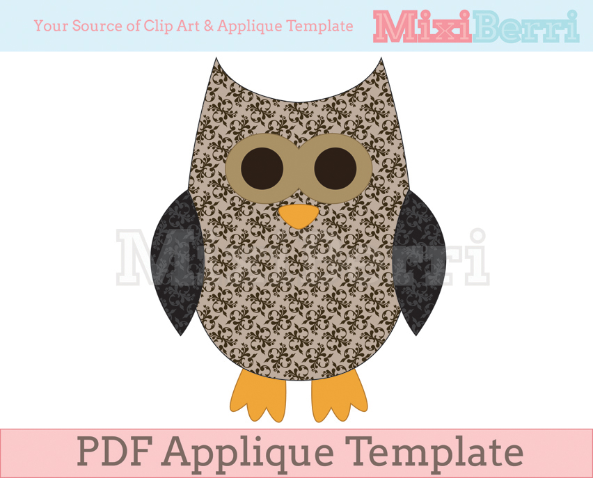 Applique Template Owl Pdf On Luulla