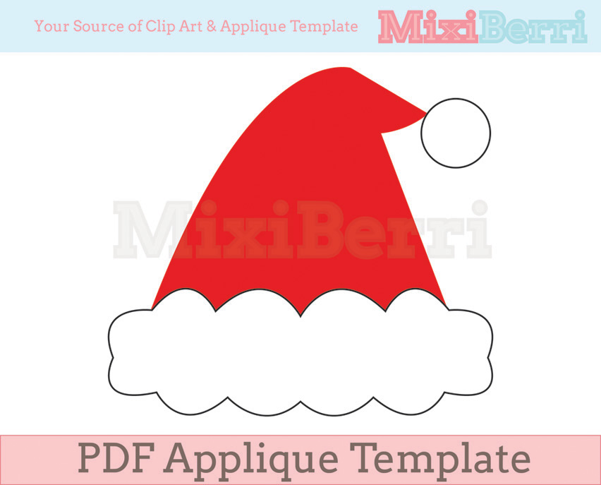 santa hat applique template pdf santa hat applique template pdf by ...